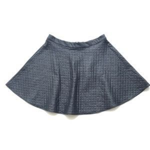 Faux Leather Textured Skater Skirt